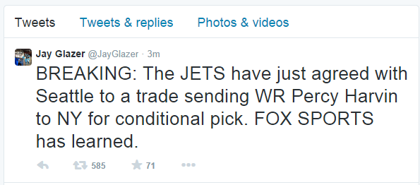 New York Jets Fuel - The Fans Source :: BREAKING NEWS: New York Jets trade for WR Percy Harvin