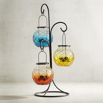 Medallion Ombre Glass Hanging Tealight Lantern Pier 1 Imports Tea Lights Candle Lanterns Lanterns