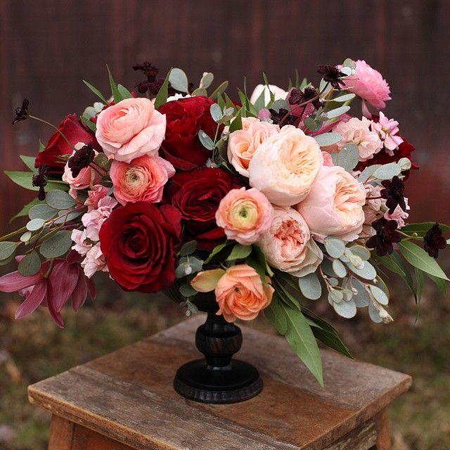 Marsala Peach And Pink More Red Wedding Flower Arrangements
