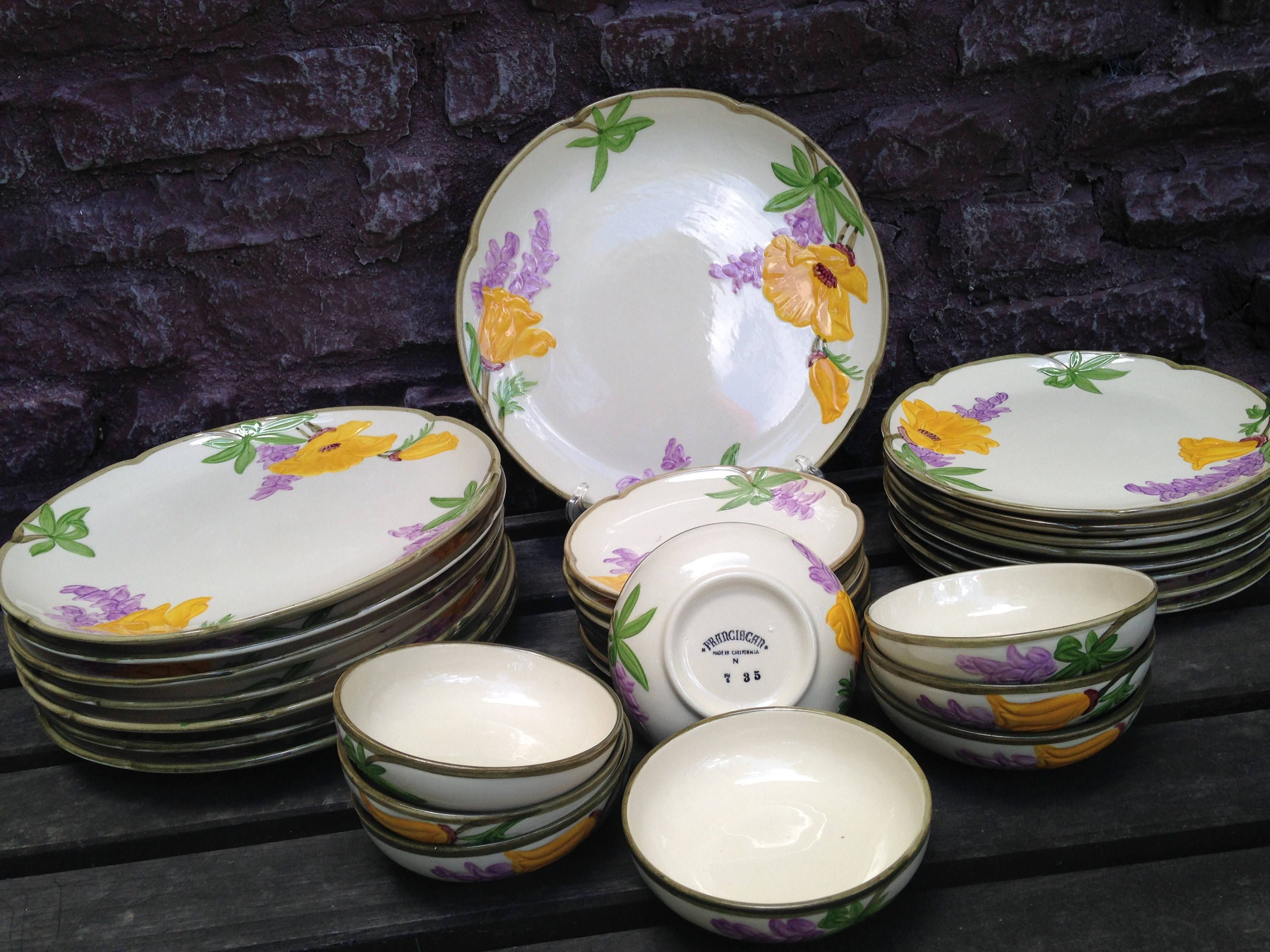 Franciscan California Poppy Dinnerware Set for 8 - 32 Pc USA 1950 ARCH Logo - RARE & Franciscan California Poppy Dinnerware Set for 8 - 32 Pc USA 1950 ...