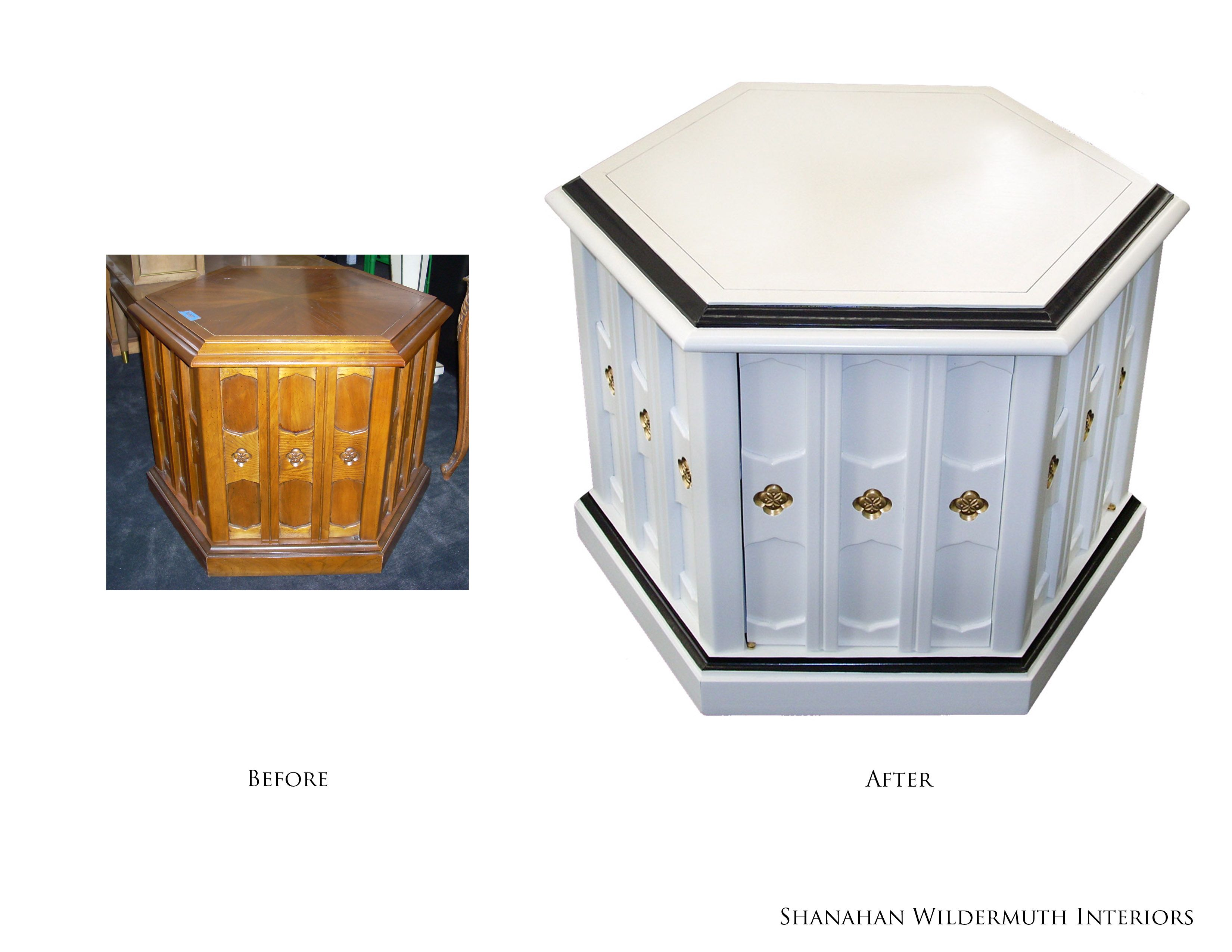 White Octagonal Side Table