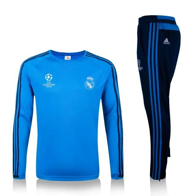 Real Madrid 15 16 Blue Uefa Tracksuit Soccer Jersey Real Madrid Champions League Football Sweater Tracksuit