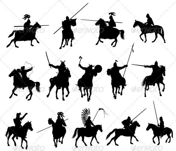 Vector Horsemen Set People Characters Silhouettes People