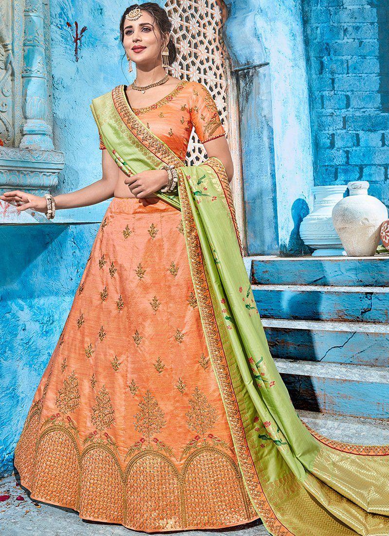325abb6b84 Peach and Light Green Art Silk Embroidered Lehenga | Indian dresses ...