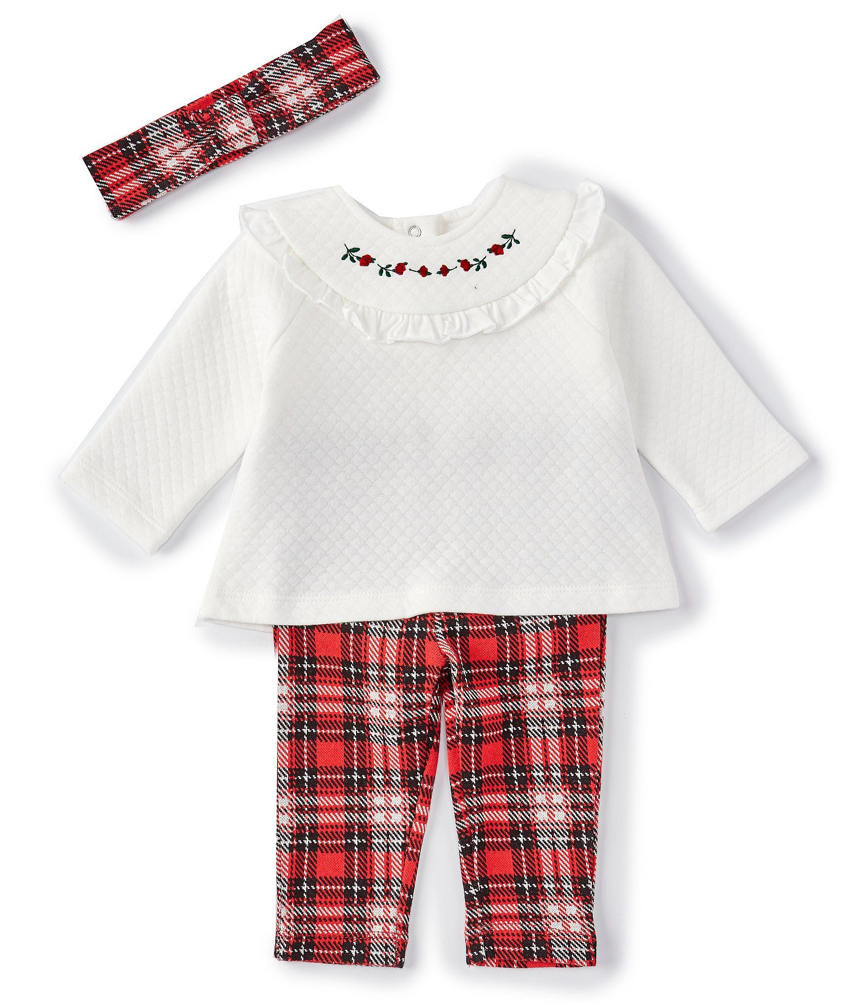 Photo of Little Me Baby Girls 3-9 Months Long-Sleeve Textured-Knit Top Plaid Leggings  Headband Set – Plaid 9 Months