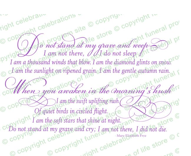 Funeral Poems Do Not Stand At My Grave Poem Colors Available
