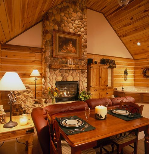 Amazing Stone Fireplace So Warm And Inviting Log Cabin