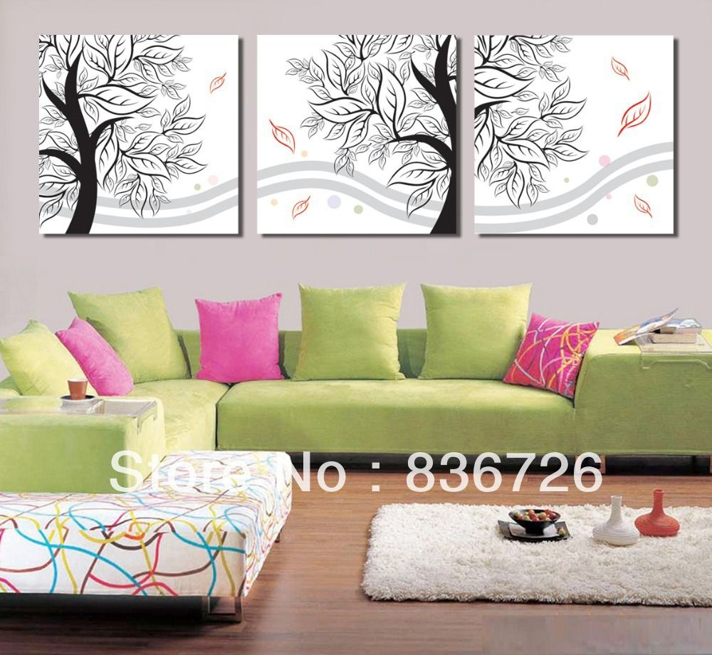 Free shipping piece wall decor canvas paintings colorful abstract