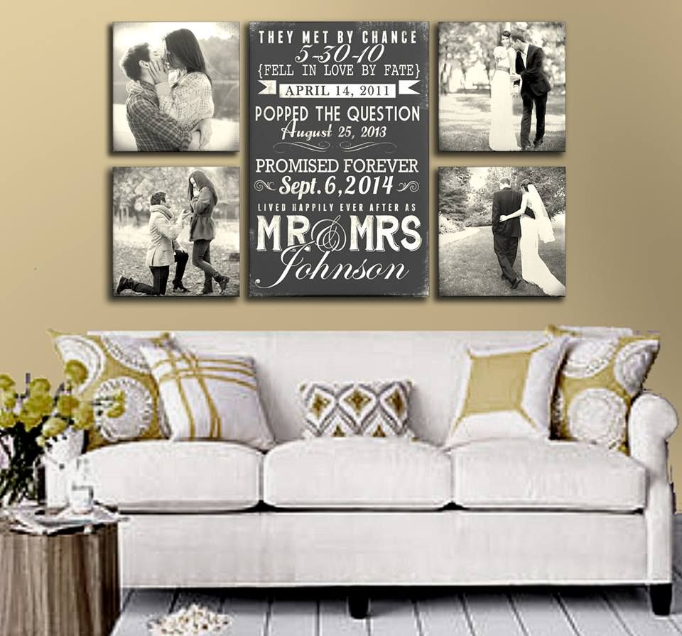 Bed head against window  wedding photo art with special dates perfect for the living room or