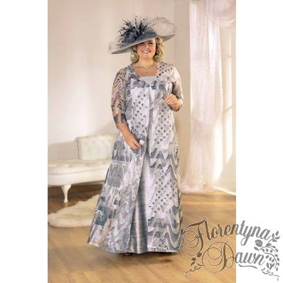 Florentyna Dawn Mavis Coat in Charcoal/Grey and White Organza set over Silver Mavis Dress
