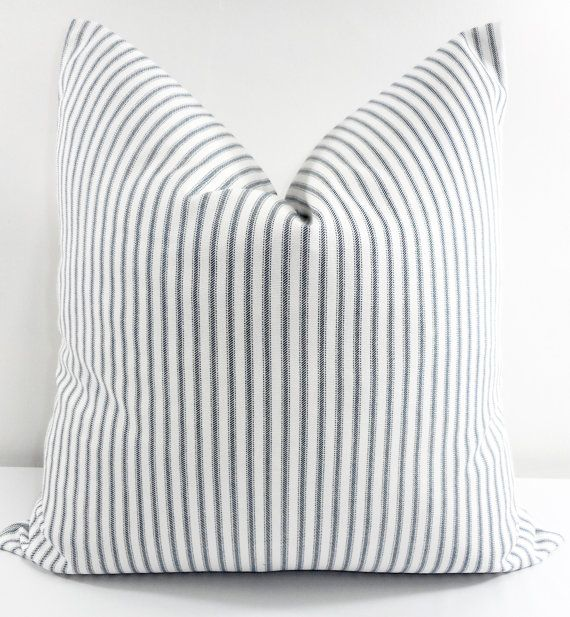 Classic Stripe Pillow Cover. Navy Blue and White. Sofa Pillow Cover. Sham cover.Cushion
