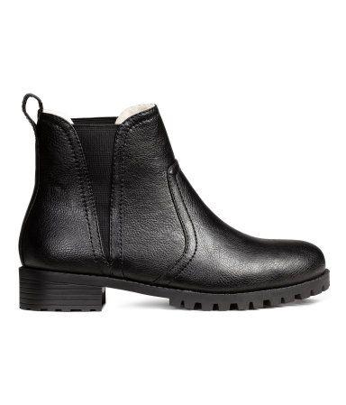 Chelseaboots Mit Warmem Futter Schwarz Damen H M De Stiefel Black Chelsea Boots Chelsea Boots Online Shopping Shoes