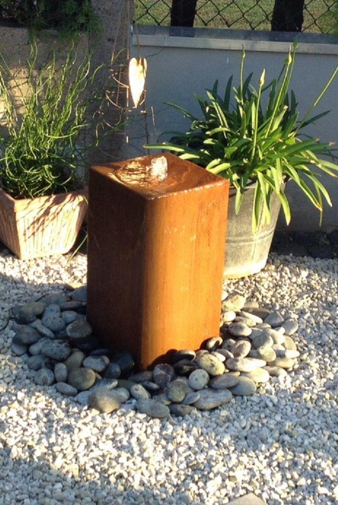 Hochwertig Wasserspiel Kpl. SET: Cortenstahl Säule 50 Edelrost Wasserwand Inkl. Pumpe  Becken | Zierbrunnen