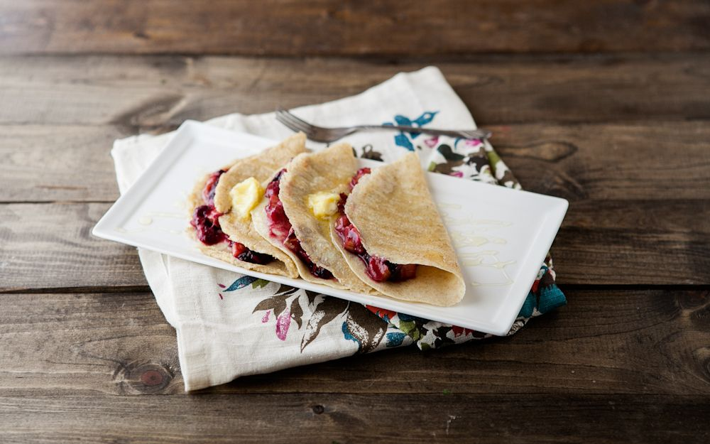 Roasted Blueberry and Rhubarb Crepes with Honey and Butter