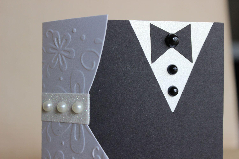 Bride And Groom Wedding Card Money Holder Handmade TriFold Card