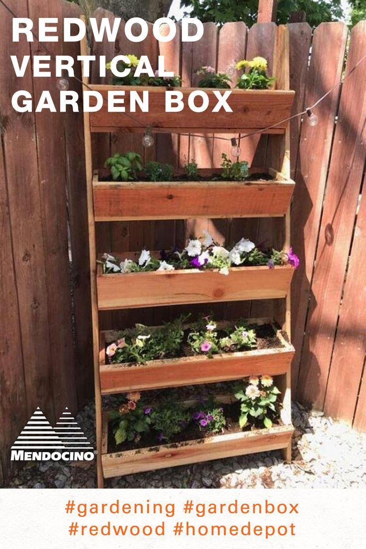 Redwood Vertical Garden Box in 2020 Vertical garden
