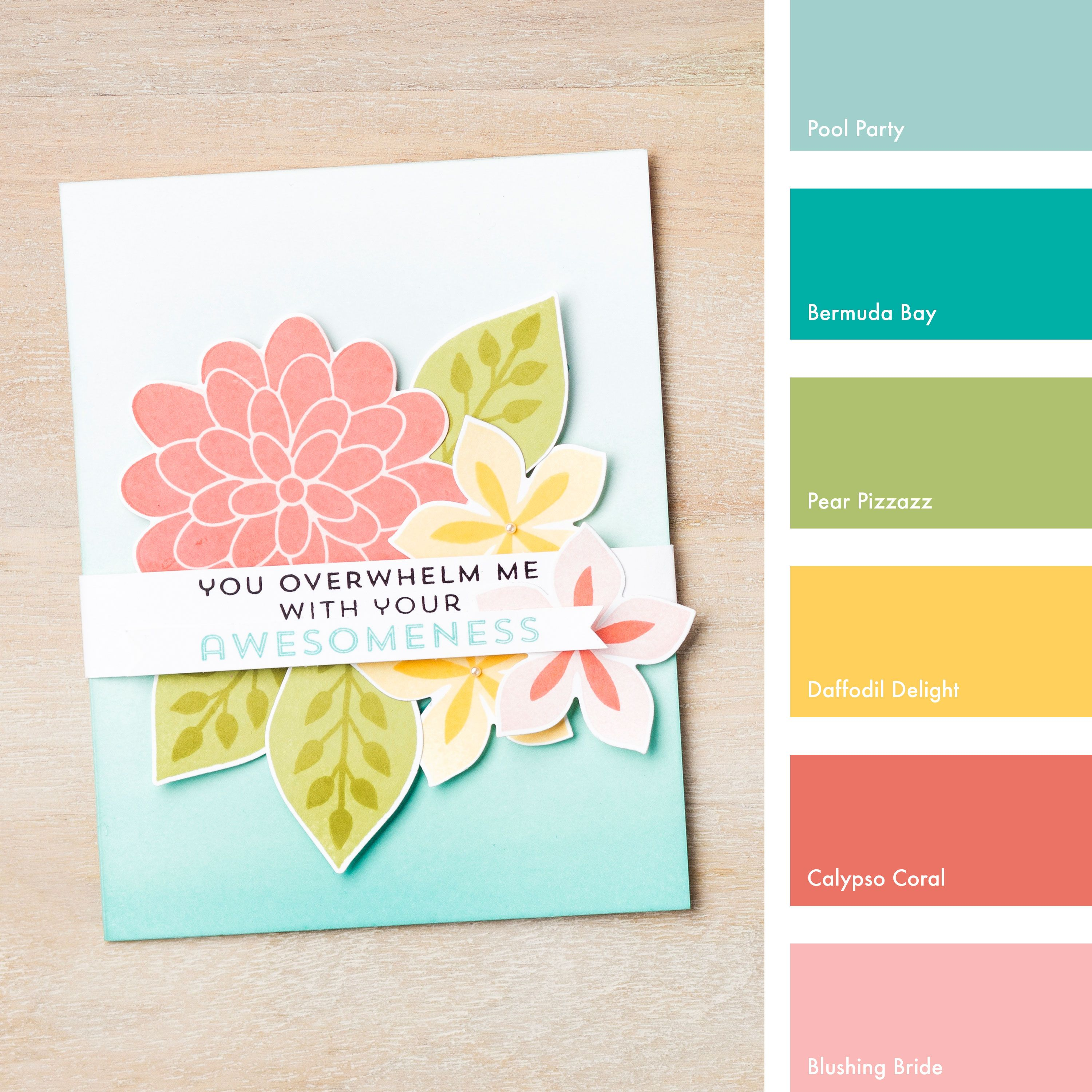 Pool Party, Bermuda Bay, Pear Pizzazz, Daffodil Delight, Calypso Coral & Blushing Bride #StampinUpColorCombos