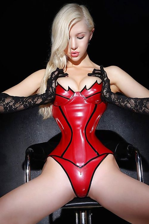 Red latex corset. | Corsets | Pinterest
