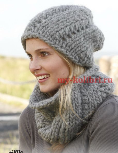 вяжем спицами модную шапку из толстой пряжи и шарф воротник схема и