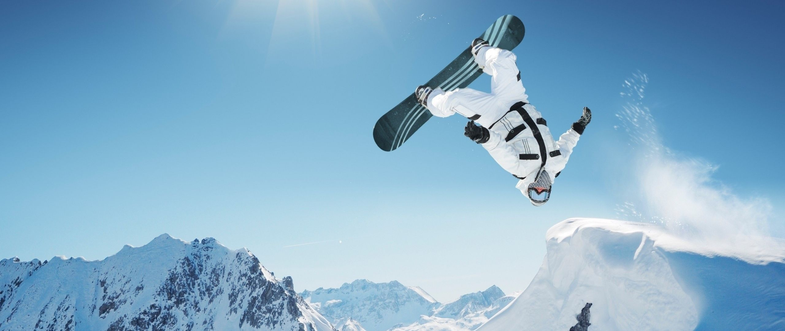 Download Wallpaper 2560x1080 Snowboarding, Trick, Jump