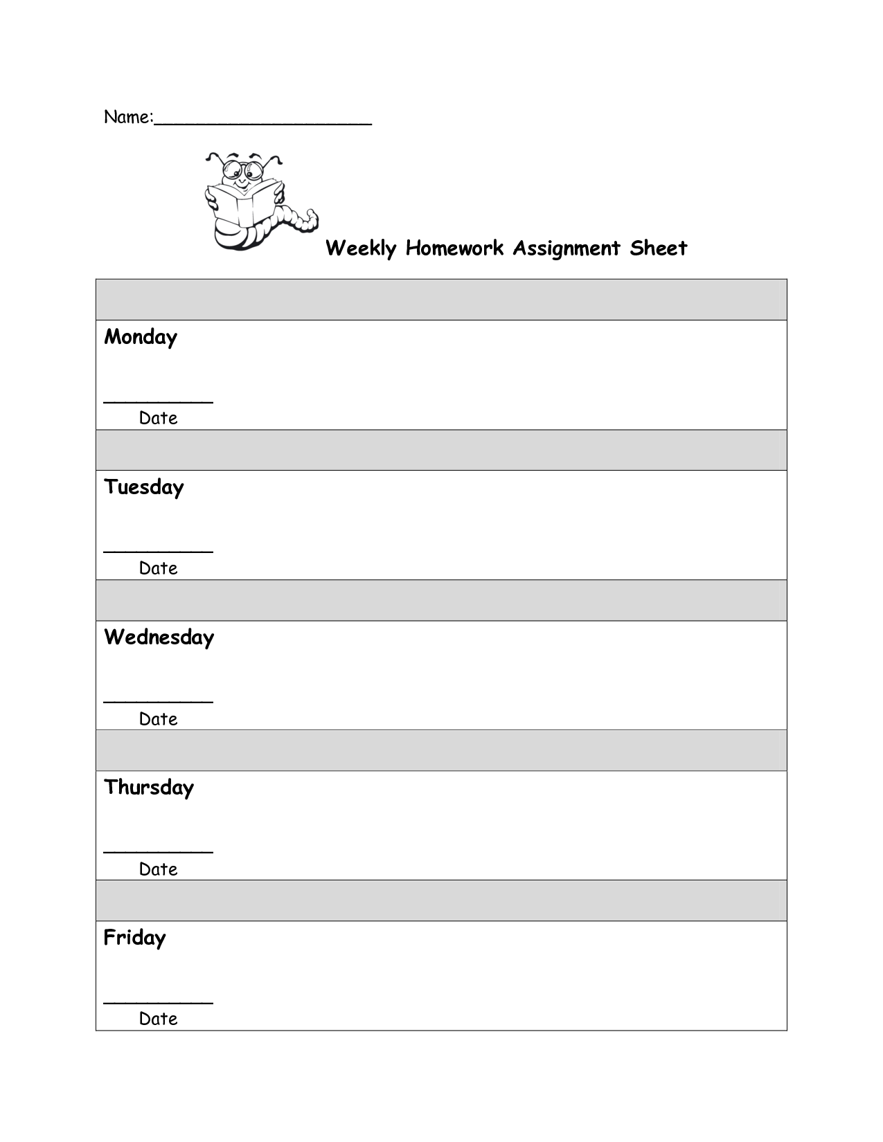 Writing Assignment Sheet Template