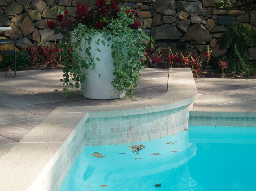 Pool Tile 6x6 Pictured Above Tri State Project With 2x2 Marble Waterline Tile And Pool