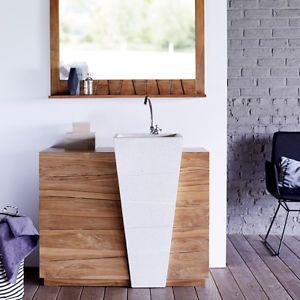 Sottolavabo mobile bagno vasca sottolavello incassato legno teak tek ...