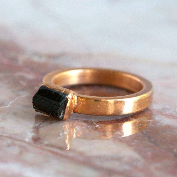 Raw Crystal Ring Crushed Pyrite Ring Black Tourmaline and Pyrite ring Raw Black Tourmaline