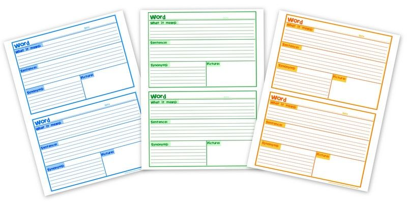 Vocabulary+Journal+Template+Printable study aids