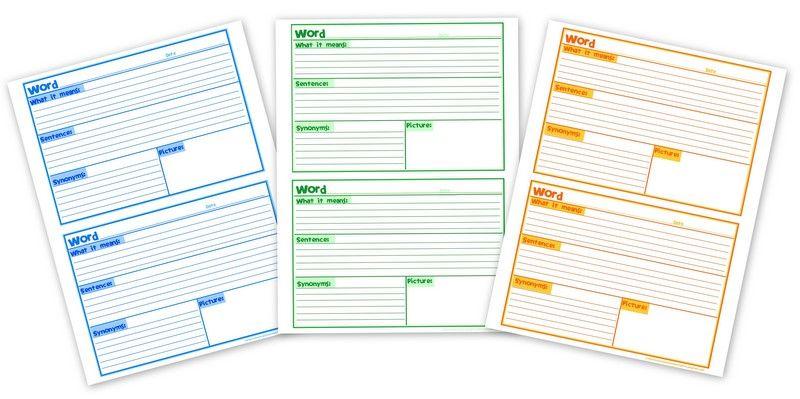Vocabulary Journal Template Printable