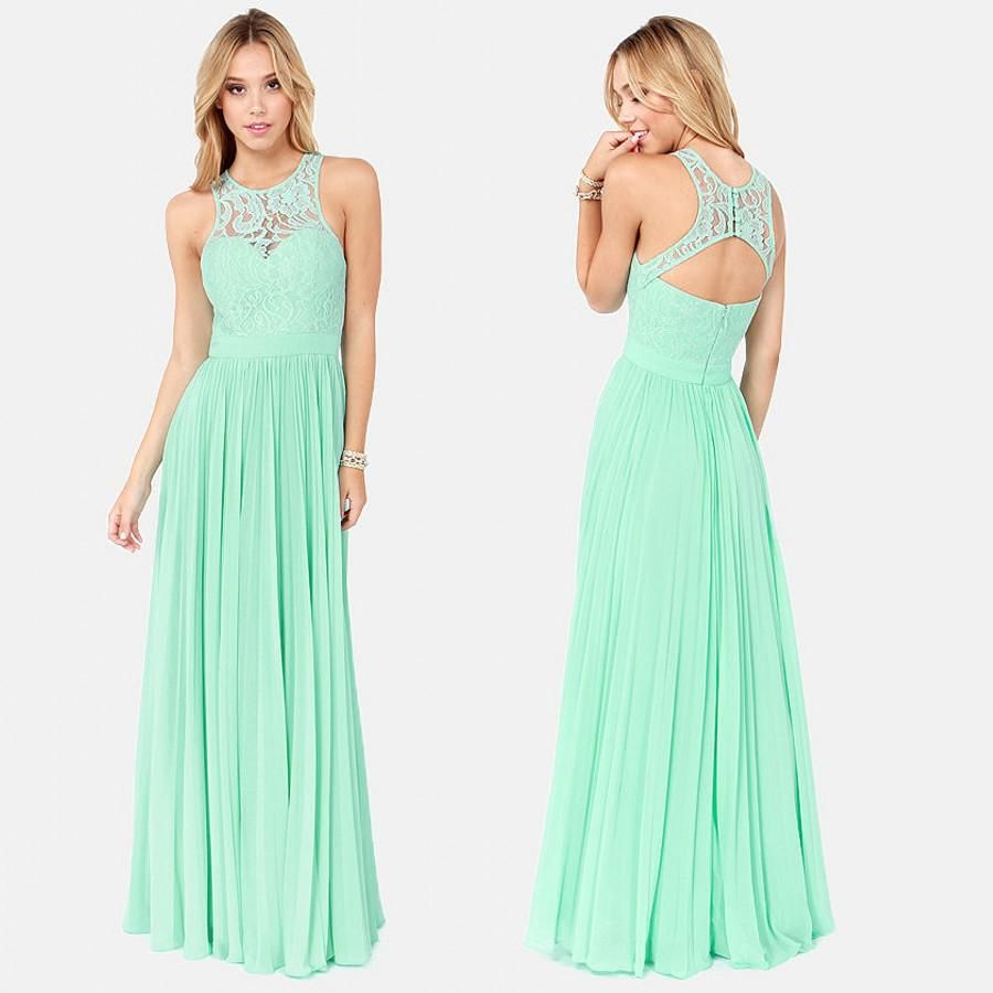 Whole Mint Bridesmaid Dresses New Style Floor Length Green Scoop Tank Straps Lace Evening Gown Formal 2017 Chiffon Long