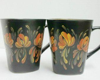Mugs Black Ceramic Coffee Cups Coffee Mugs Hand Painted Scandinavian Design Rosemaling Swedish Norwegian Folk Art Swedish Decor Mugs Stoneware Mugs Ceramics