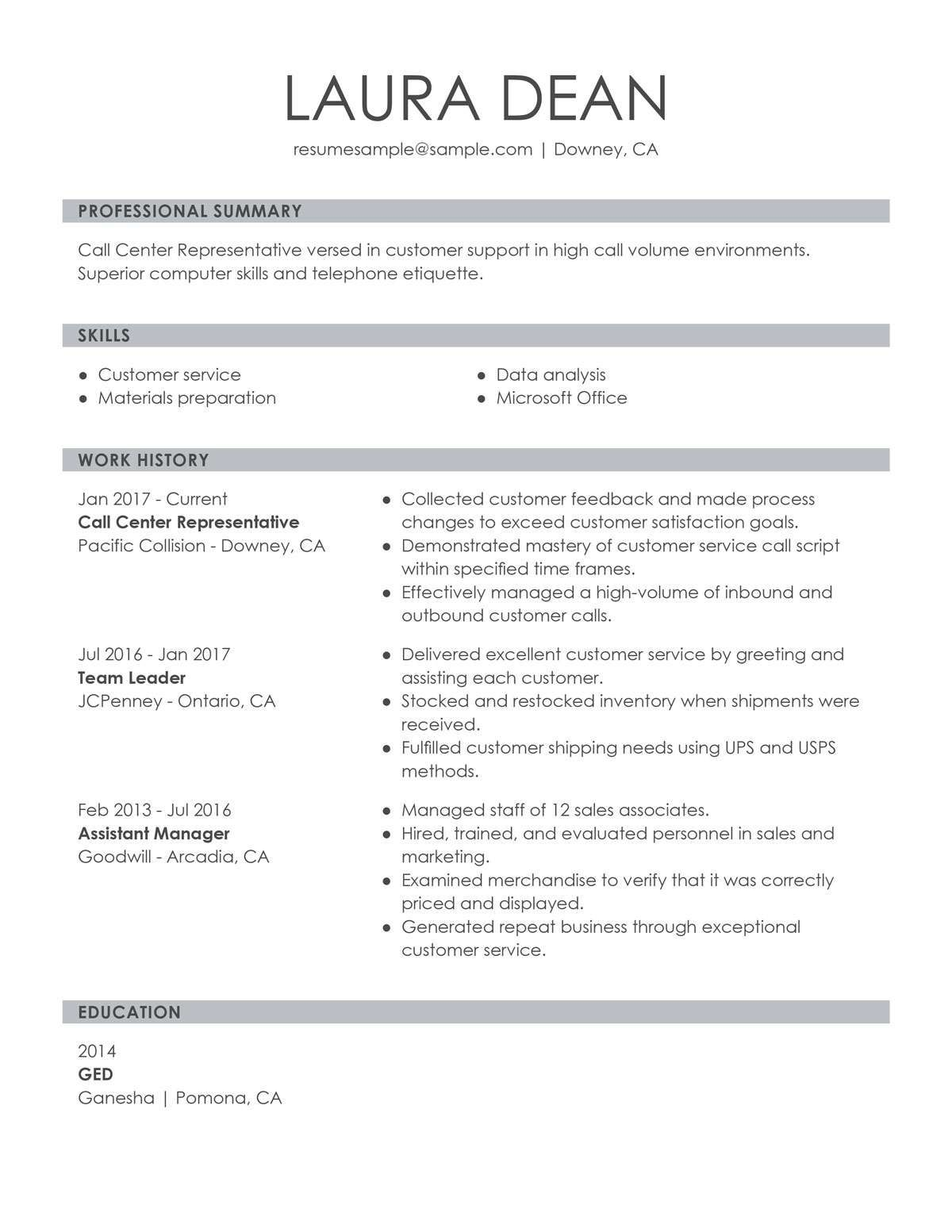 Customer Services Resume Customer service resume, Job