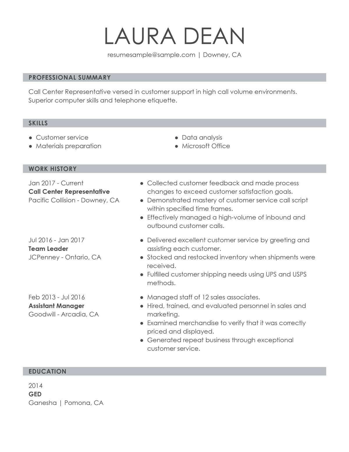 Summary For Resume Customer Service