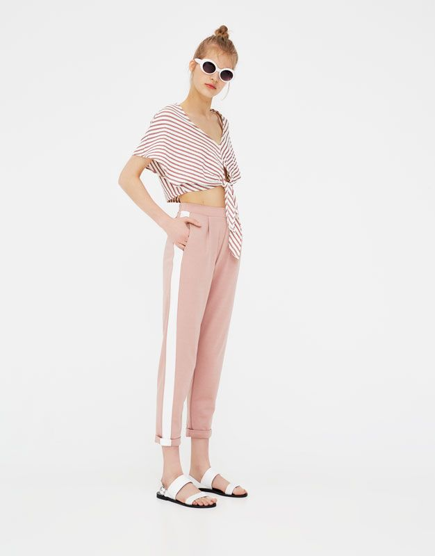 Tailored Trousers With Side Stripes Trousers Clothing Woman Pull Bear United Kingdom Thời Trang