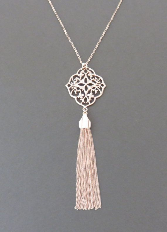 Rose gold necklace rose gold tassel necklace by MarciaHDesigns