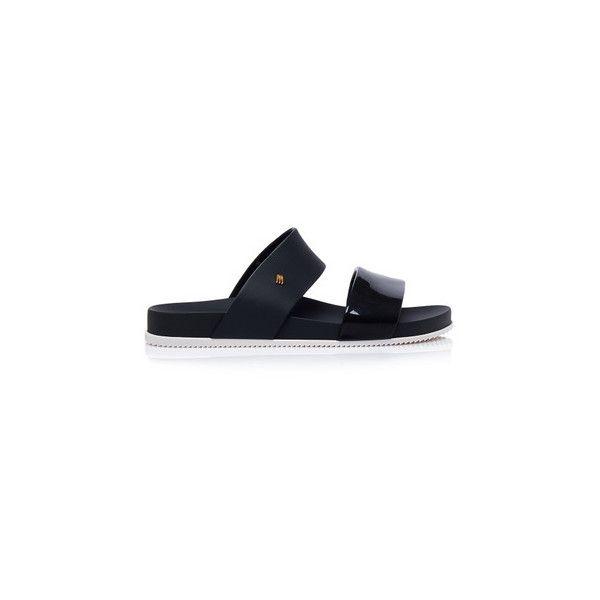 Melissa Slides Sandals (110 AUD) ❤ liked on Polyvore featuring shoes, sandals, black, black shoes, rubber sandals, melissa sandals, rubber shoes and black strappy shoes
