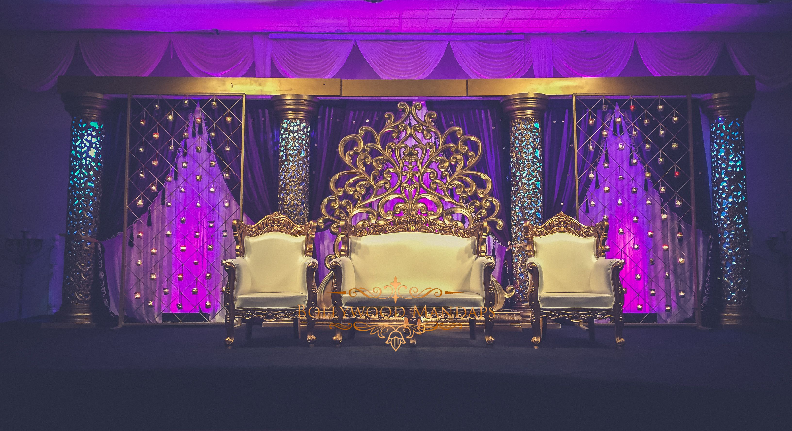 Gold Wedding Stage With Purple Draping. 120 Moroccan Tea-lights ... for Light Decoration For Indian Wedding  156eri