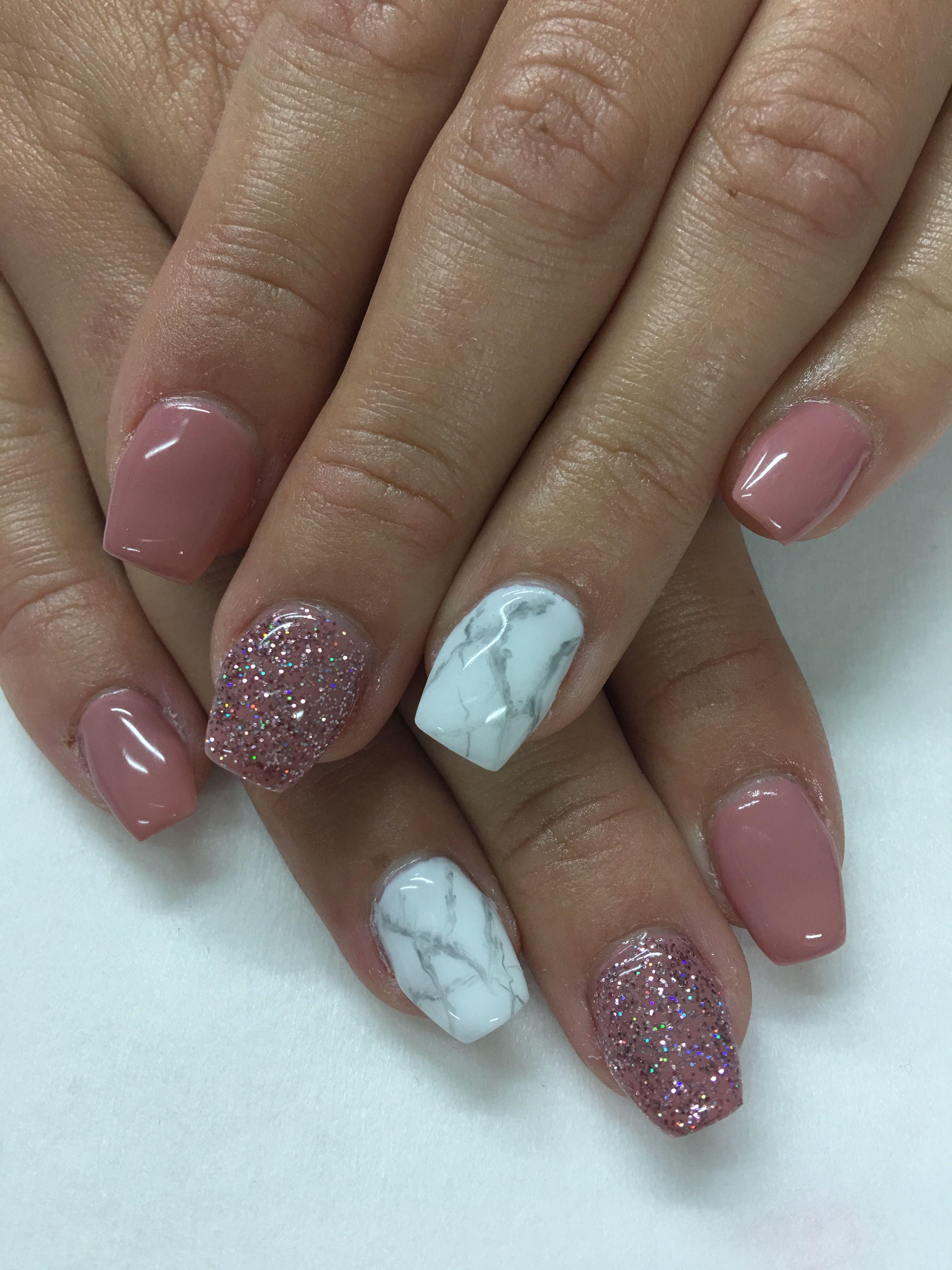 Mauve Glitter White Marble Gel Nails Gel Nail Designs Mauve Nails Glitter Gel Nails