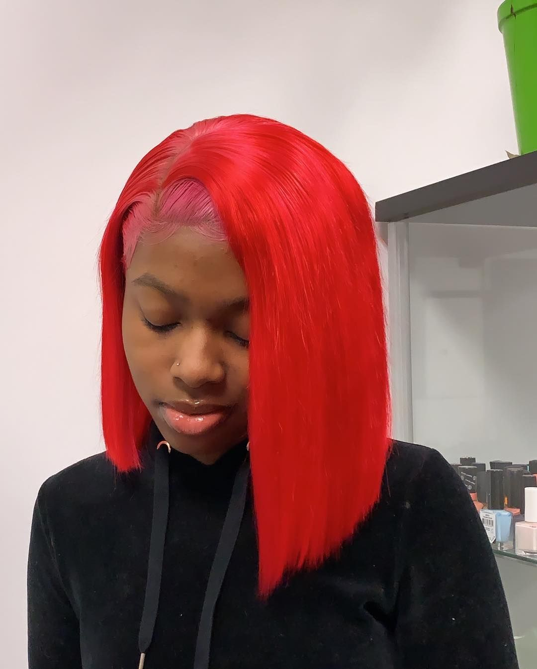 82.5 Red Colored Human Hair Wigs Lace Frontal Wig with