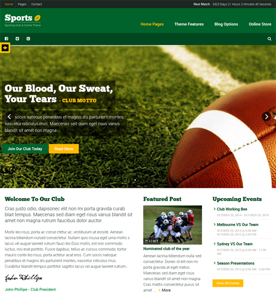 This sports WordPress theme offers a responsive layout, WooCommerce, bbPress, and WPML support, over 600 Google Fonts, easy color customization, a header builder, a page builder, custom Facebook and Twitter widgets, and more.