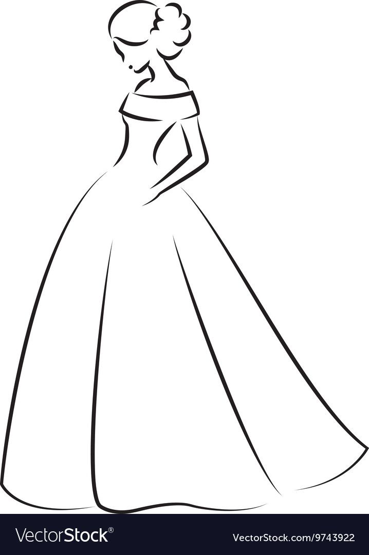 Sketch Of An Elegant Bride In White Wedding Dress Vector Image On Vectorstock Art Drawings Simple Art Drawings Sketches Simple Dress Design Sketches