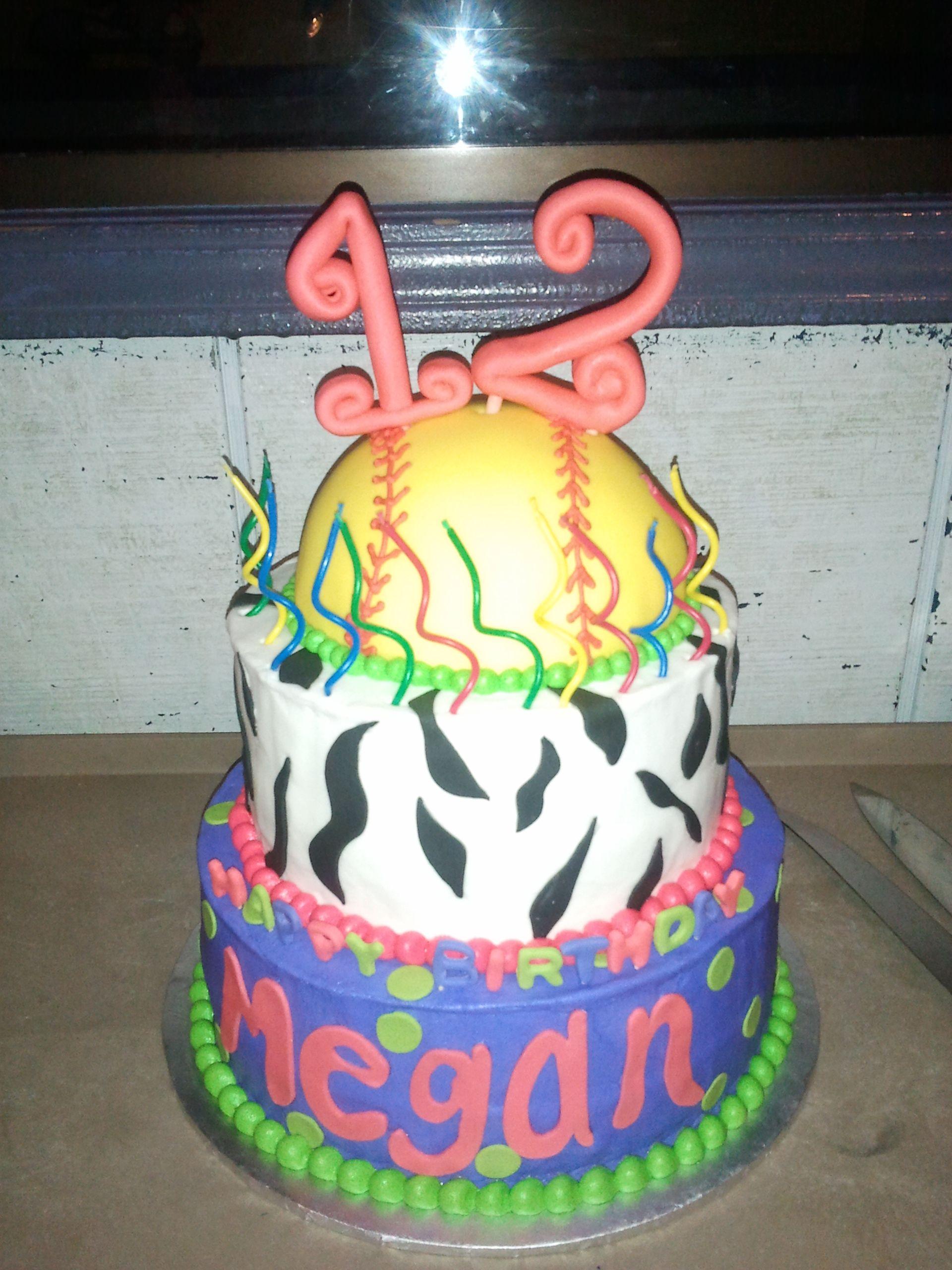 My Sister Megans Neon Softball Birthday Cake Megan James Yum