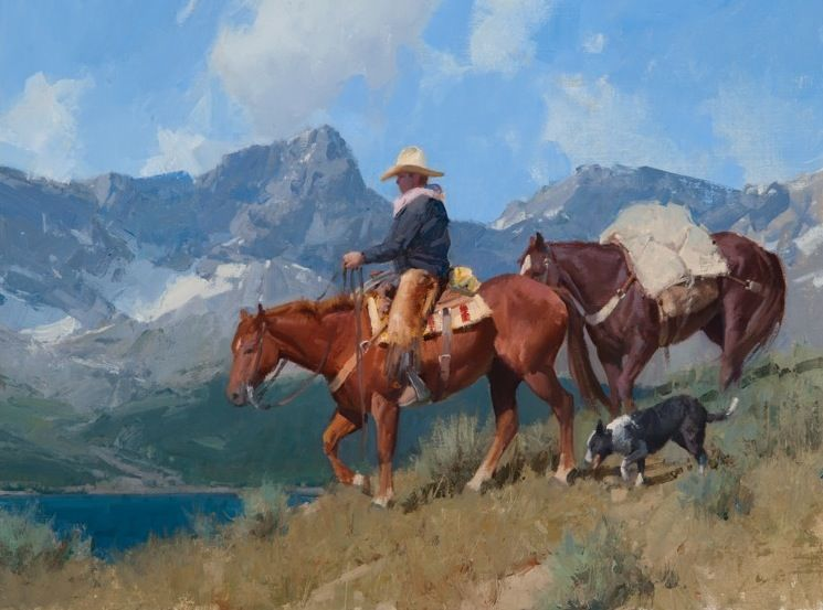 BACKCOUNTRY COMPANIONS oil on linen. 18 x 24 in by Bill Anton.