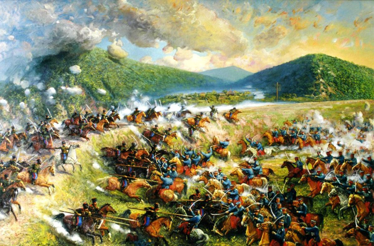 Cavalry Charge Between Russian Cossacks And Japanese Cavalry War