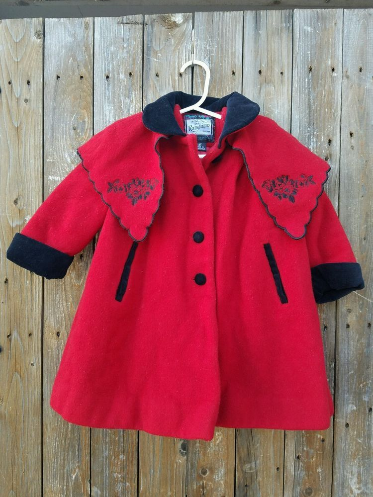 Vintage Rothschild Size 2T Toddler Girl Red Wool Dressy Coat #Rothschild #Coat #Dressy