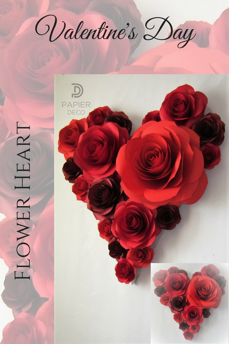 Valentines Day Decor Heart Of Large Paper Flowers Valentines Day