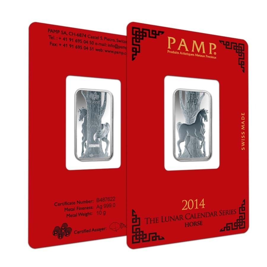 10 Gram Pamp Suisse Year Of The Horse Silver Bar In Assay Bullion Exchanges Silver Bars