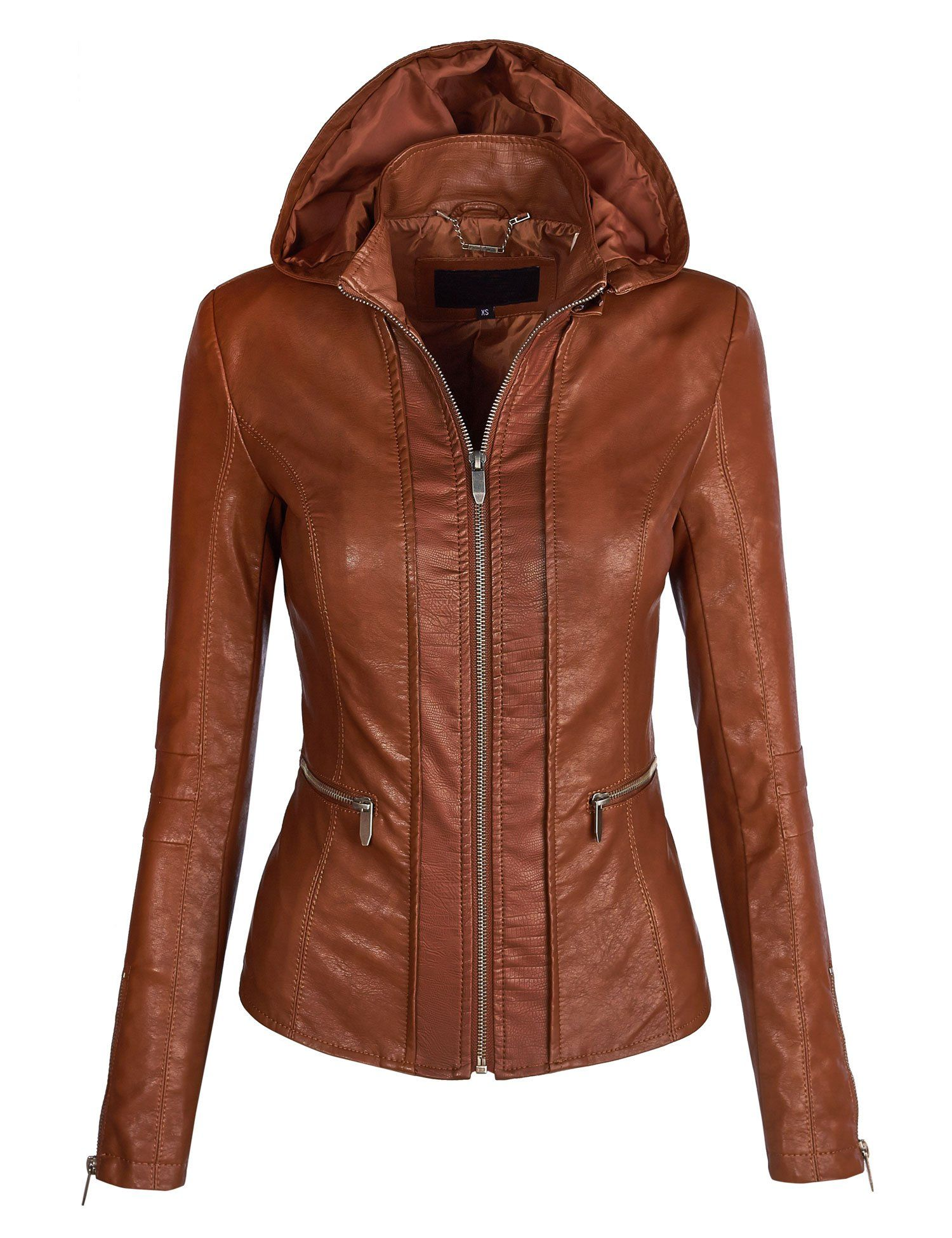 MBJ Womens Hooded Vegan Leather Moto Jacket Cognac Vegan