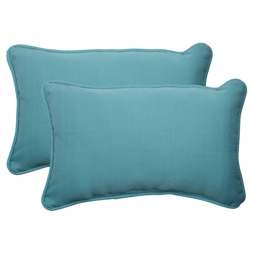 Outdoor 2 Piece Lumbar Toss Pillow Set Turquoise Forsyth Solid Tq